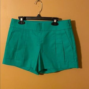 J. Crew green pleated shorts size 0